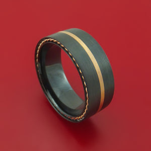 Black Zirconium Ring with Gold Inlay and Side Braids Custom Made Band