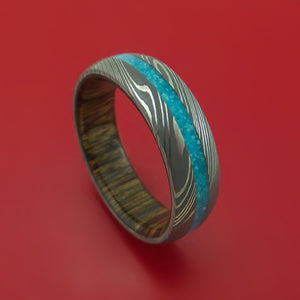 Damascus Steel Ring with Turquoise Inlay and Interior Hardwood Sleeve Custom Made Band