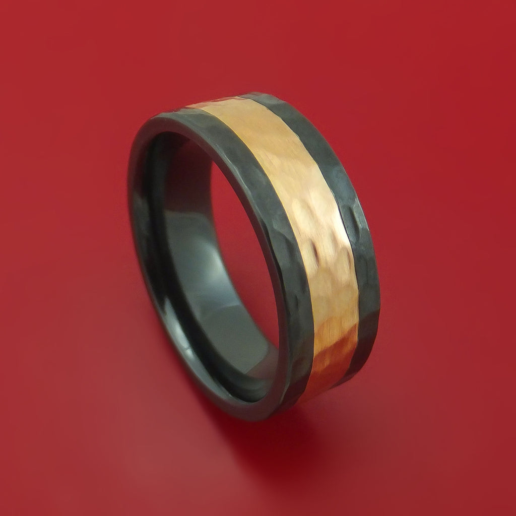 Black Zirconium and Rose Gold Hammered Band Custom Made Ring