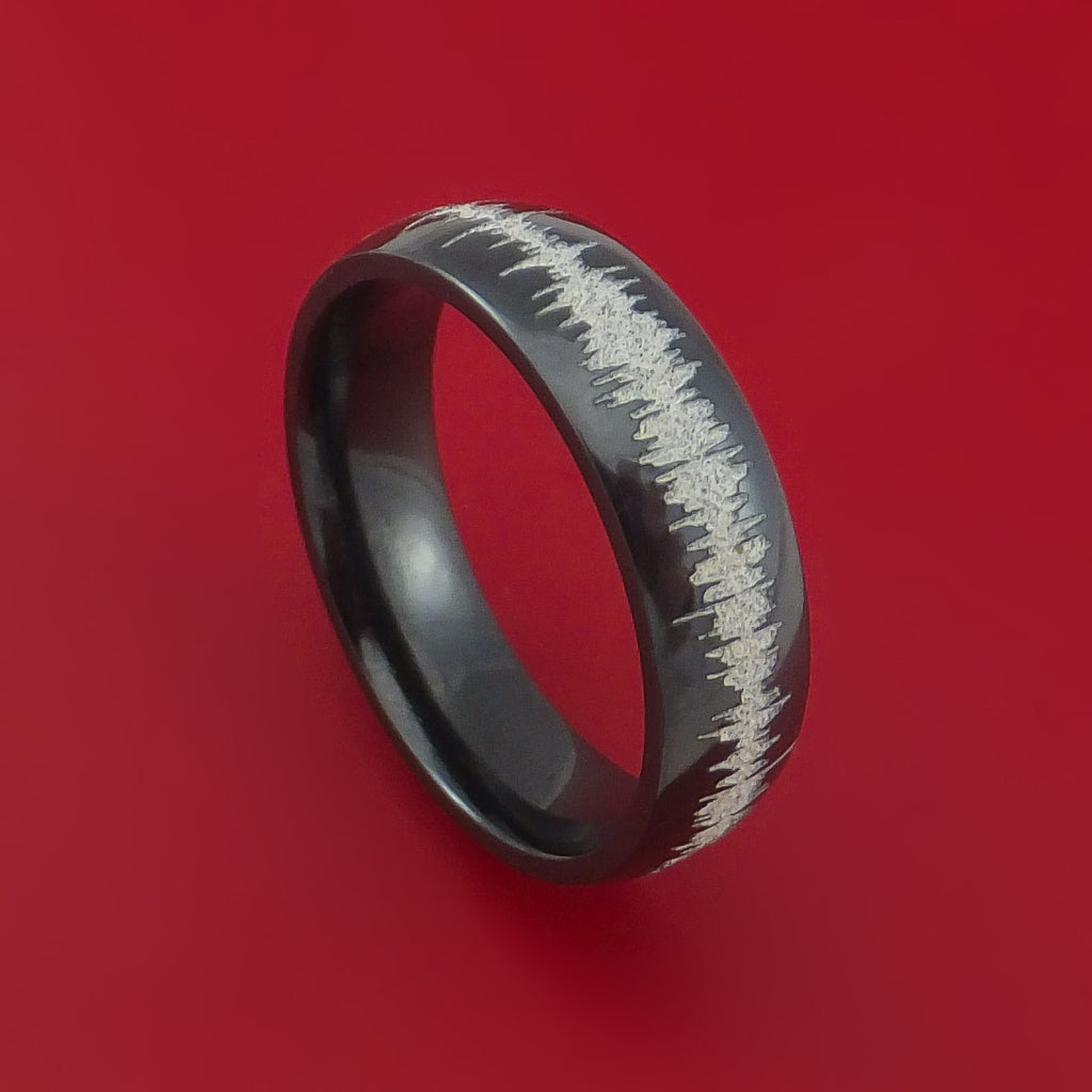 Black Zirconium Custom Sound Wave Ring