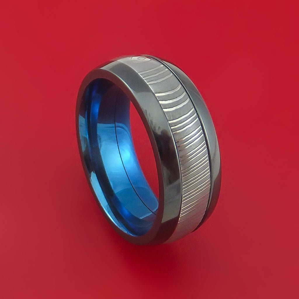 Damascus Steel Ring with  Inlay and Interior Anodized Sleeve Custom Made Band