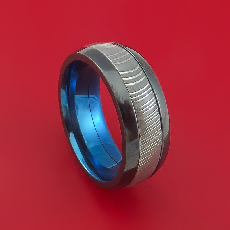 Black Zirconium and Damascus Steel Band with Anodized Titanium Interior Custom Made Ring