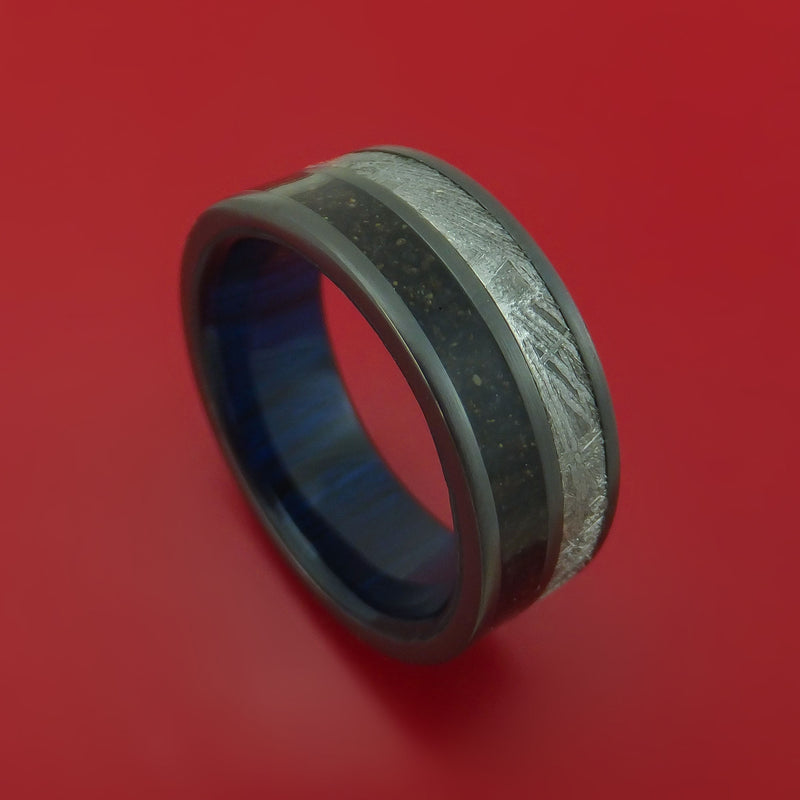 Black Zirconium Ring with Gibeon Meteorite and Dinosaur Bone Inlays and Interior Hardwood Sleeve Custom Made Band