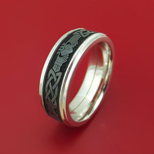 14k White Gold Ring with Black Zirconium and Claddagh Etched Celtic Design Inlays Custom Made Band