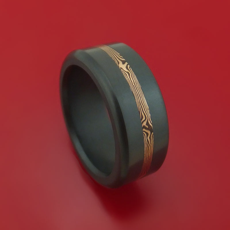 Elysium Black Diamond Wedding Band Rounded With Polish Finish With a Rose Gold Mokume Shakudo Inlay
