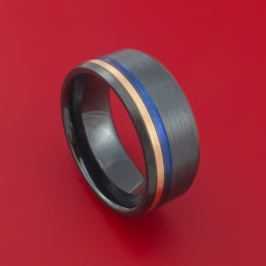 Black Zirconium Ring with 14k Rose Gold and Anodized Inlays Custom Made Band