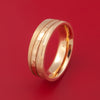 14K Rose Gold Ring with Three Finishes Hammer and Tree Bark Custom Made Band