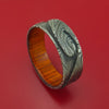 Marbled Kuro Damascus Steel Ring with Milled Wave Pattern Inlay and Interior Hardwood Sleeve Custom Made Band