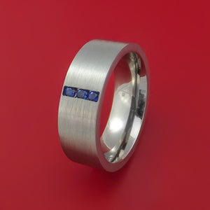 Titanium Ring with Blue Sapphires Custom Made Band