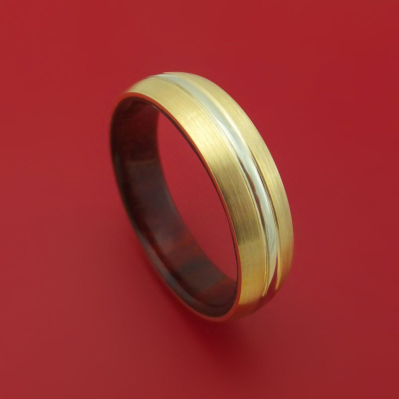 14K Yellow Gold and White Gold Band with Wood Sleeve Custom Made Ring
