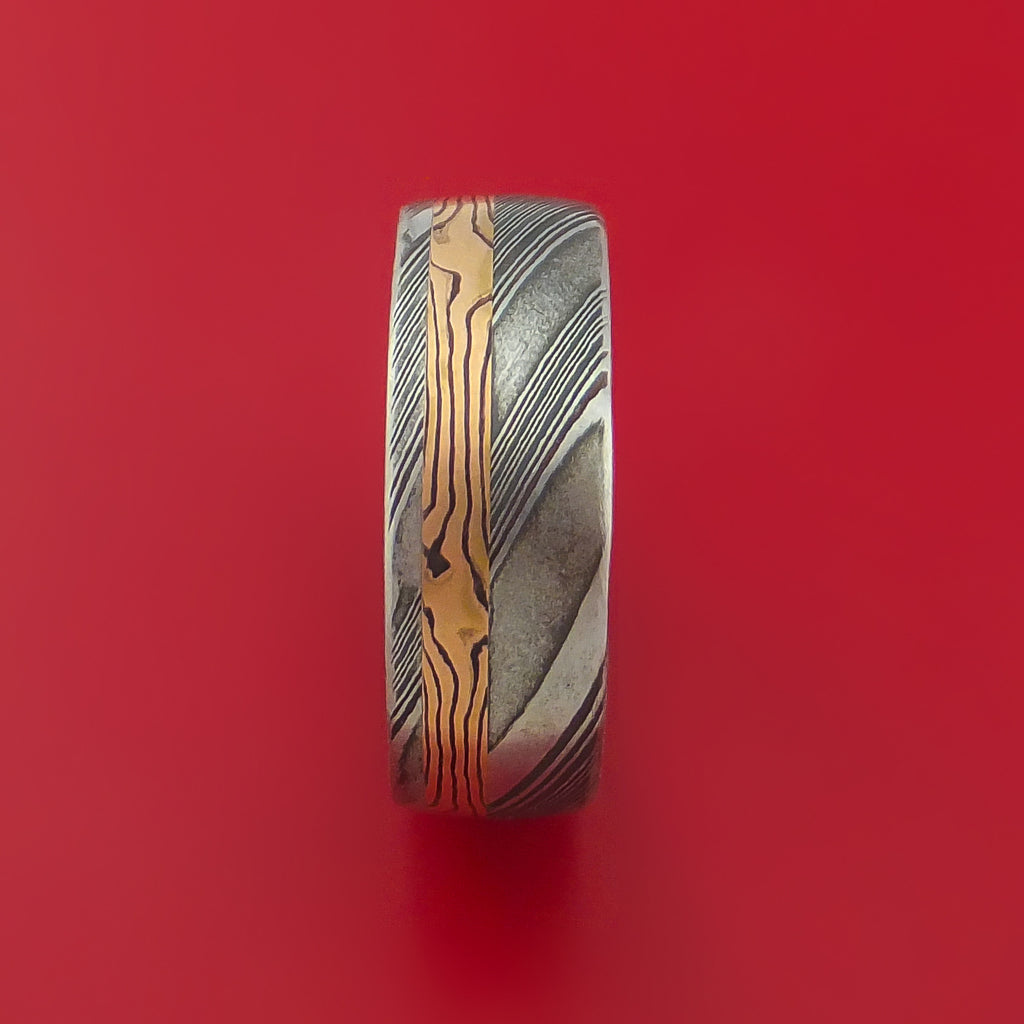 Kuro Damascus Steel Ring with 14k Rose Gold Mokume Shakudo Inlay Custom Made Band - Stonebrook Jewelry  - 3