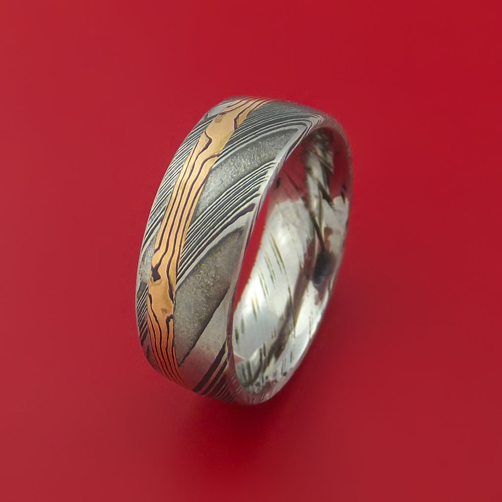 Kuro Damascus Steel Ring with 14k Rose Gold Mokume Shakudo Inlay Custom Made Band - Stonebrook Jewelry  - 4