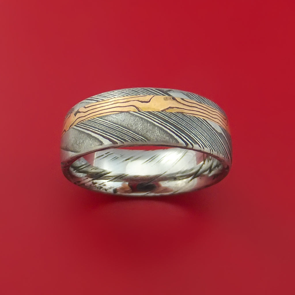 Kuro Damascus Steel Ring with 14k Rose Gold Mokume Shakudo Inlay Custom Made Band by Stonebrook Jewelry