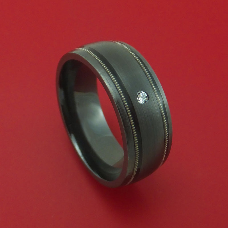 Black Zirconium and Diamond Ring with Guitar String Inlays Custom Made Band