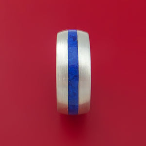 Sterling Silver Ring with Lapis Inlay Custom Made Band