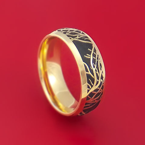 14K Yellow Gold Ring with Tree Branches Custom Made Band