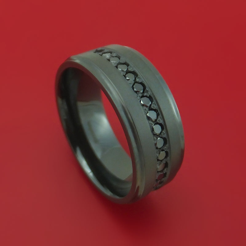 Black Zirconium Ring with Black Diamonds Custom Made Band