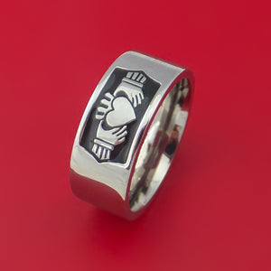 Titanium Ring with Claddagh Milled Celtic Design and Cerakote Inlays Custom Made Band