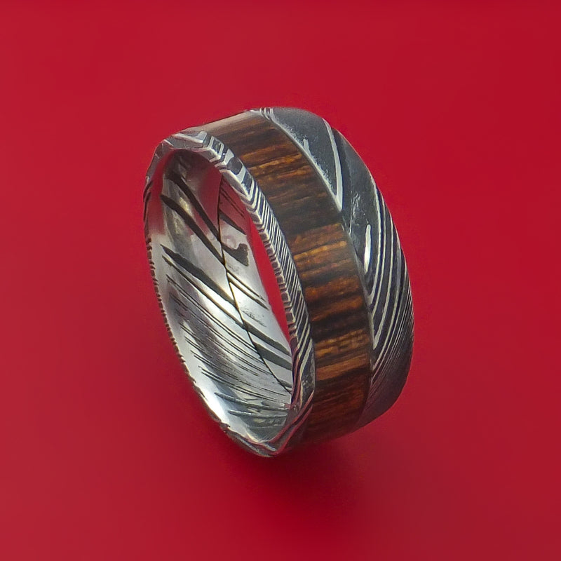 Kuro Damascus Steel Ring with Hardwood Inlay Custom Made Band