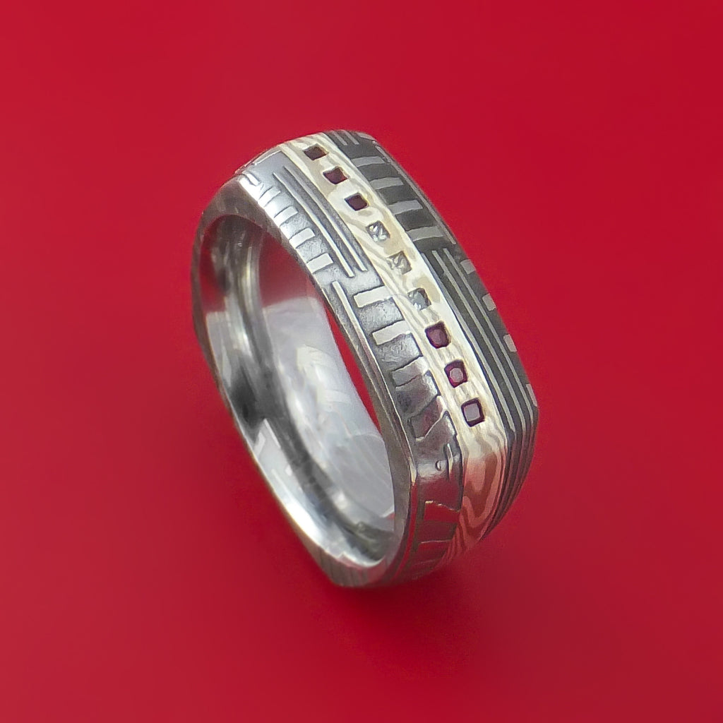 Damascus Steel Basket Weave Pattern Square Ring with Mokume Gane Rubies and Diamonds Custom Made Band