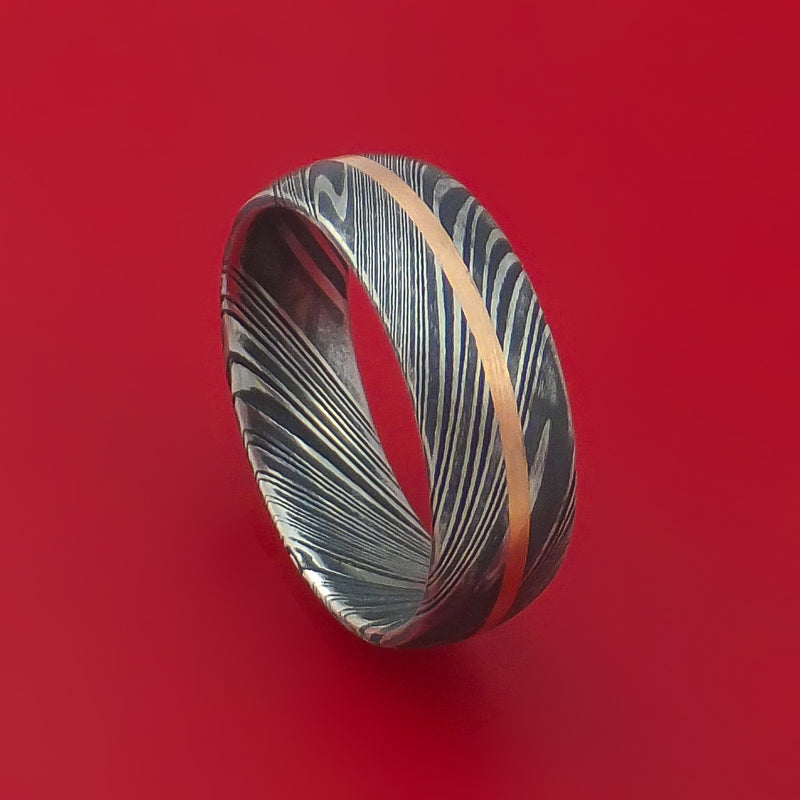 Kuro Damascus Steel Ring with 14k Rose Gold Inlay Custom Made Band