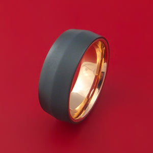 Black Zirconium Ring with Interior 14k Rose Gold Sleeve Custom Made Band