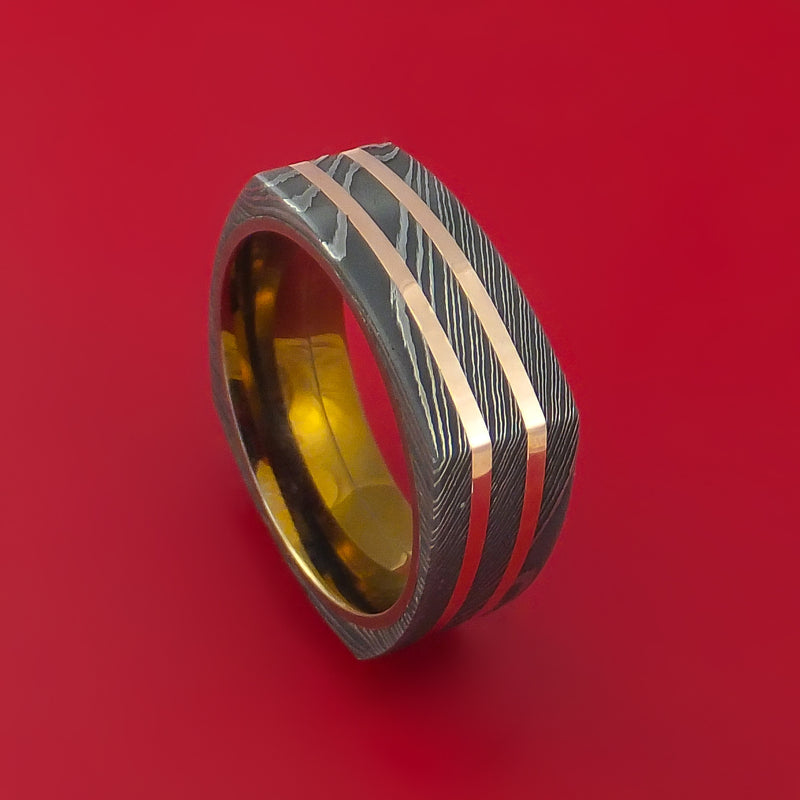 Squared Damascus Steel Ring with 14k Rose Gold Inlays and Anodized Titanium Sleeve Custom Made Band