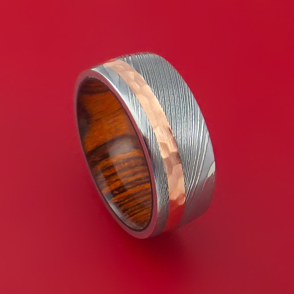 Damascus Steel and Hammered Copper Ring with Cocobolo Hardwood Sleeve Custom Made by Stonebrook Jewelry