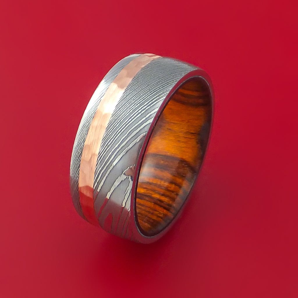 Damascus Steel and Hammered Copper Ring with Cocobolo Hardwood Sleeve Custom Made - Stonebrook Jewelry  - 4