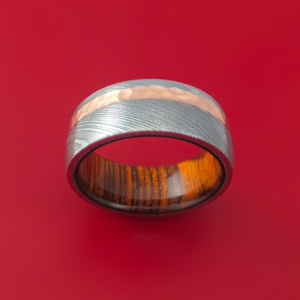Damascus Steel and Hammered Copper Ring with Cocobolo Hardwood Sleeve Custom Made - Stonebrook Jewelry  - 2