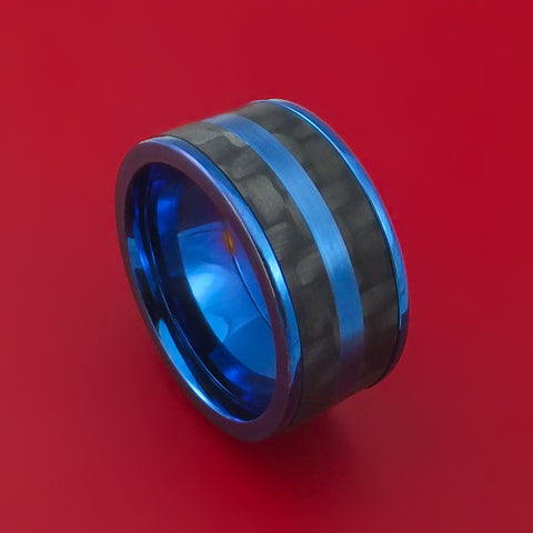 Titanium and Carbon Fiber Ring Anodized Blue Custom Made Band
