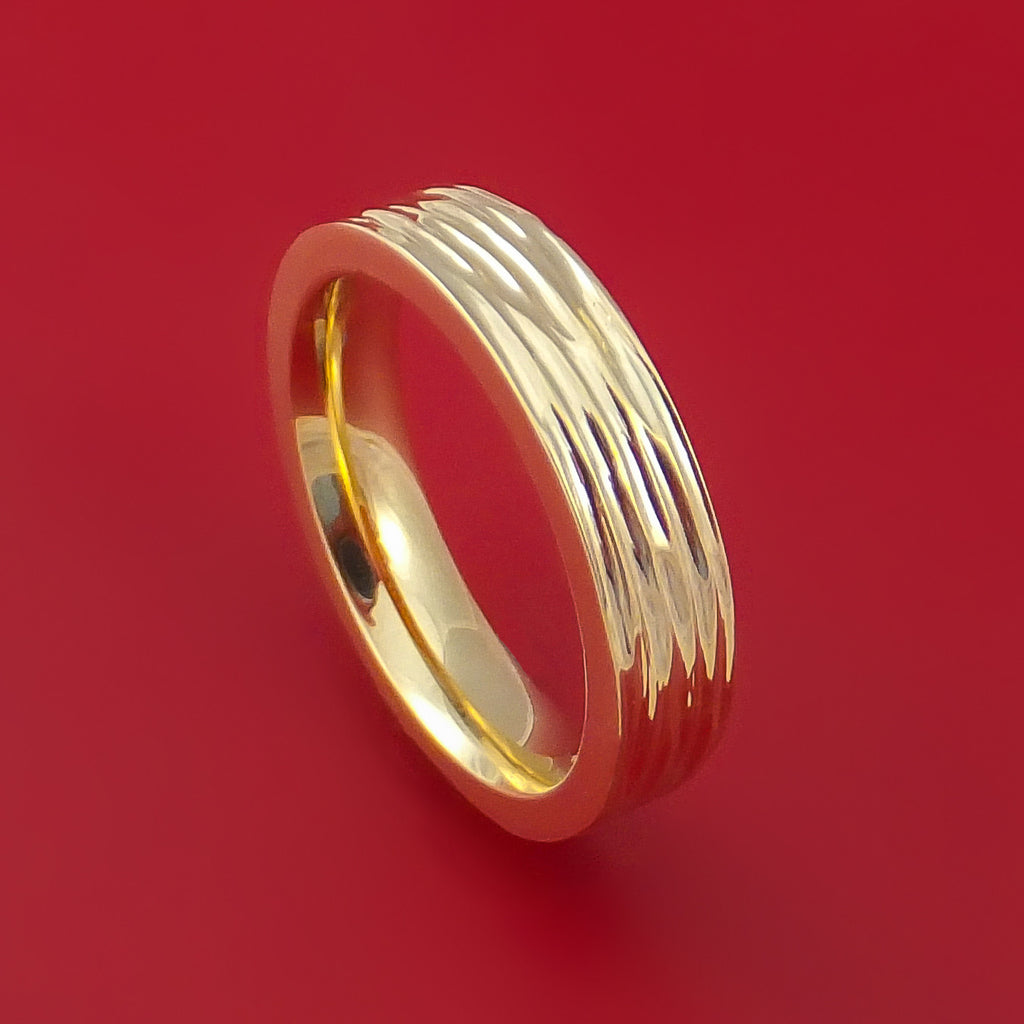 14k Yellow Gold Band with Tree Bark Finish Custom Made Solid Gold Ring by Stonebrook Jewelry