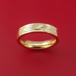 14k Yellow Gold Band with Tree Bark Finish Custom Made Solid Gold Ring