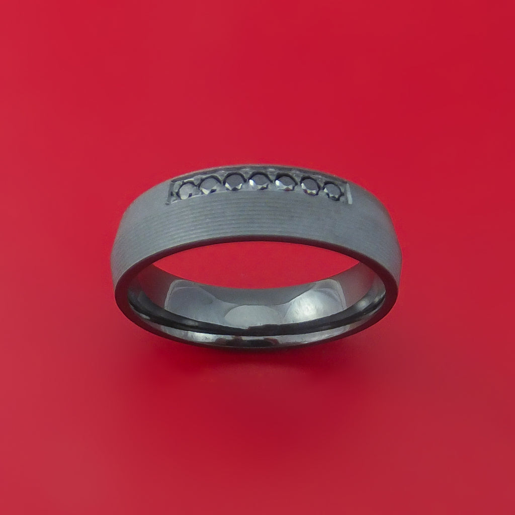 Black Zirconium and Black Diamond Ring Custom Made Band by Stonebrook Jewelry