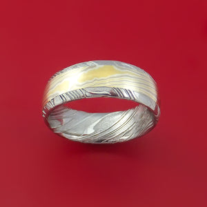 Kuro Damascus Steel Ring with 18k Yellow Gold 14k White Gold and Sterling Silver Mokume Gane Inlay Custom Made Band
