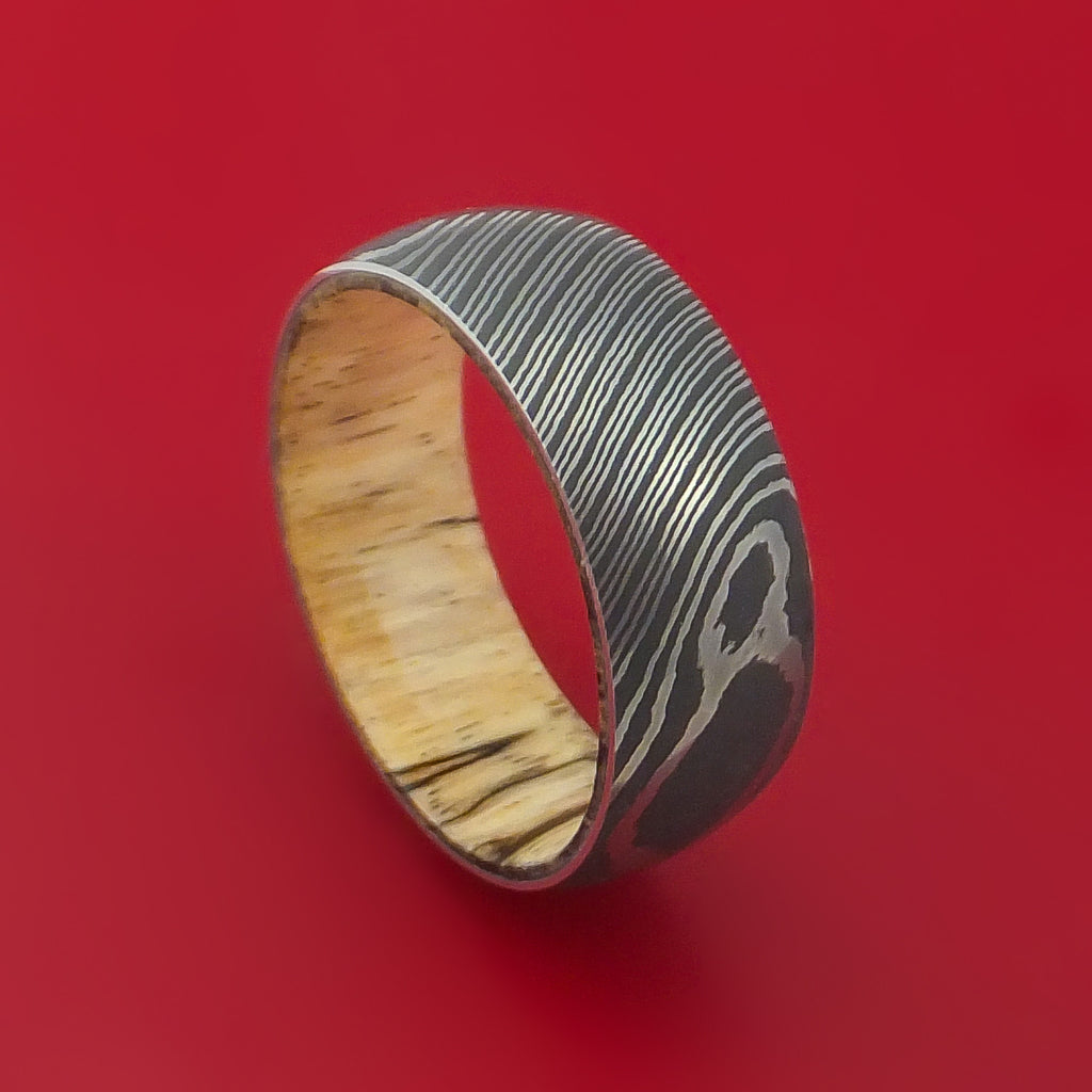 Damascus Steel Ring with Interior Hardwood Sleeve Custom Made Band