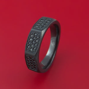 Black Zirconium and Black Diamond Ring Custom Made with 39 Diamonds