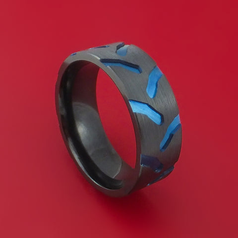 Black Zirconium Anodized Tractor Tire Tread Ring Custom Made Band by Stonebrook Jewelry