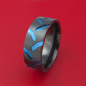 Black Zirconium Ring with Tractor Tire Tread Pattern and Anodized Inlays Custom Made Band