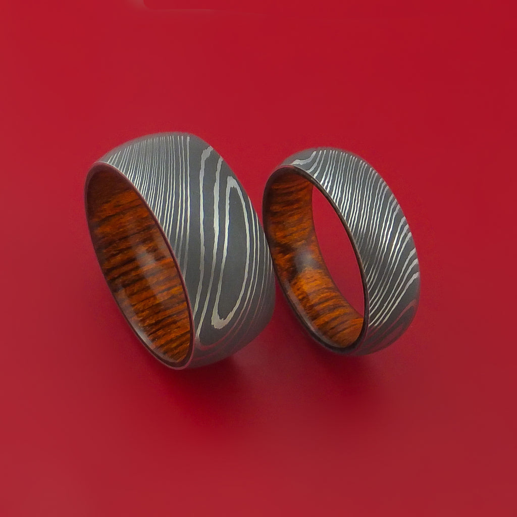 Matching Set Cocobolo Hard Wood Damascus Steel Ring Wedding Bands