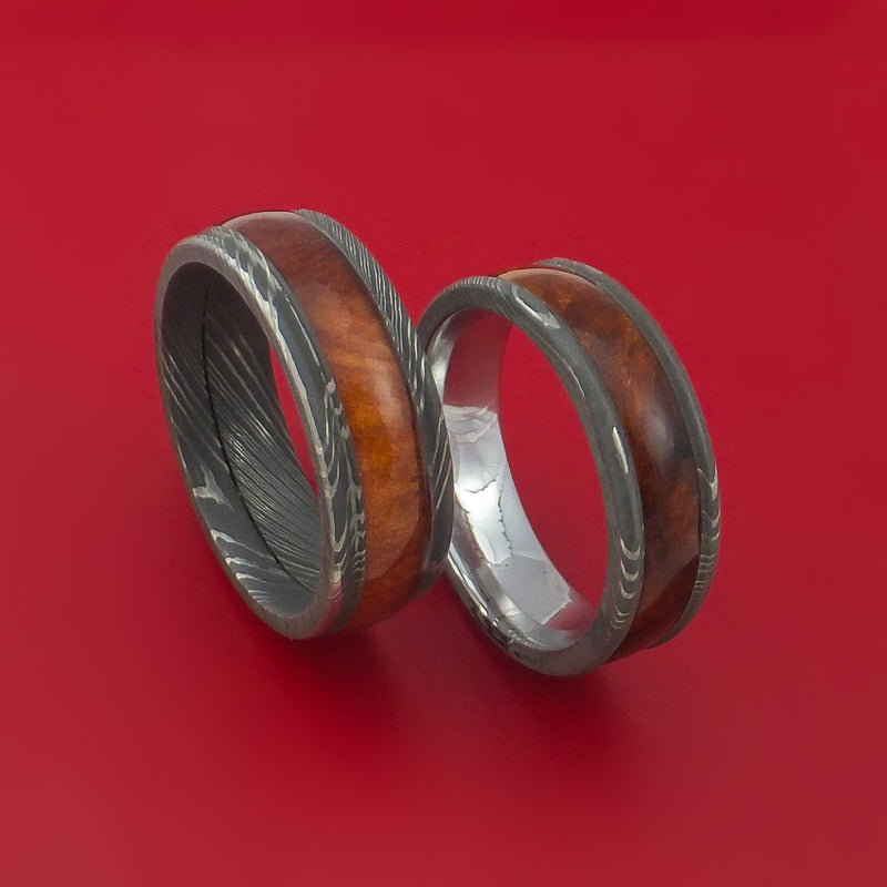 Matching Set Heritage Brown Hard Wood Damascus Steel Ring Wedding Bands