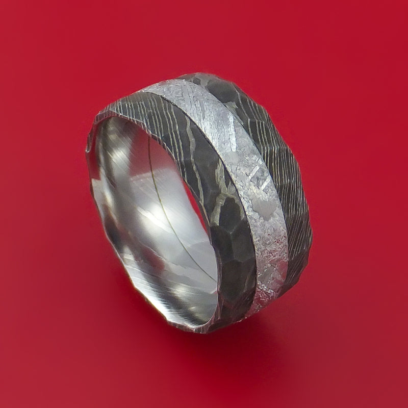 Damascus Steel Ring with Gibeon Meteorite Inlay Custom Made Band