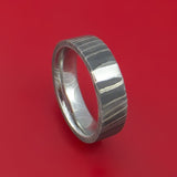 Damascus Steel and Palladium Ring Custom Made Band