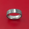 Damascus Steel and Platinum Ring Custom Made Band