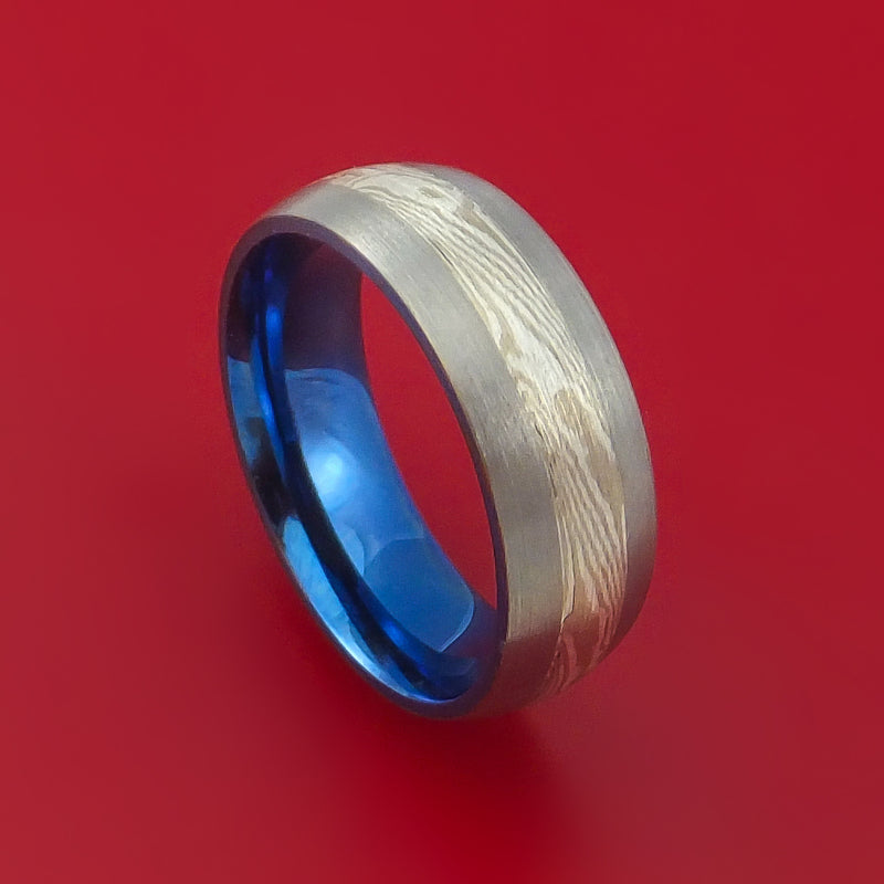 Titanium Anodized Palladium and Mokume Ring Custom Made
