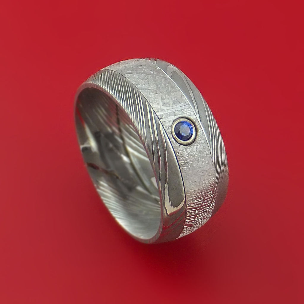 Damascus Steel Ring with Gibeon Meteorite Inlay and Blue Sapphire Custom Made Band