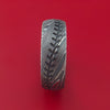 Kuro Damascus Steel Baseball Stitch Ring with Tumble Finish