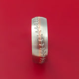 14k White Gold and Rose Gold Baseball Ring Custom Made Band