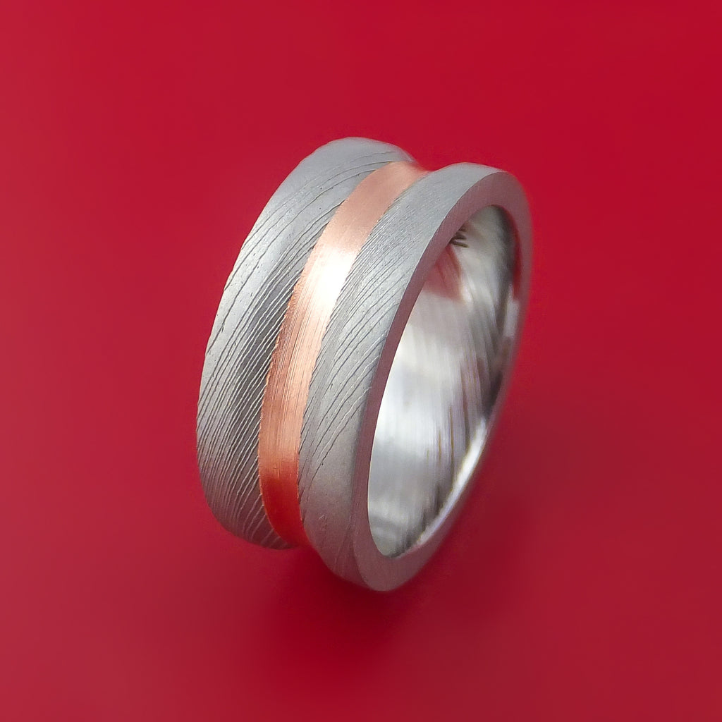Damascus Steel and Copper Concave Ring Custom Made - Stonebrook Jewelry  - 4