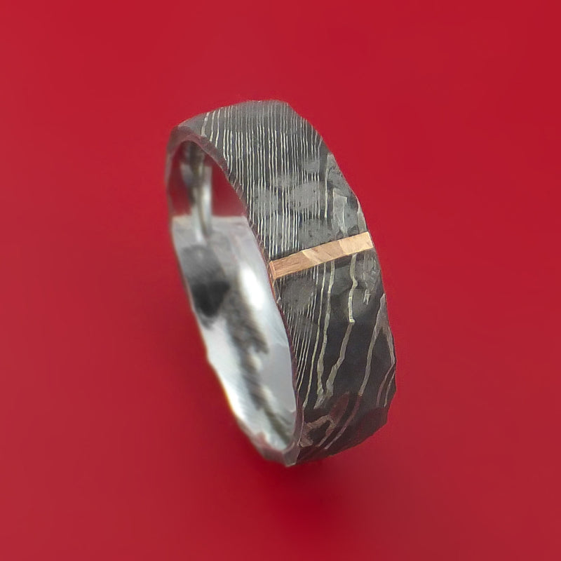 Hammered Damascus Steel Ring with 14k Rose Gold Inlay Custom Made Band